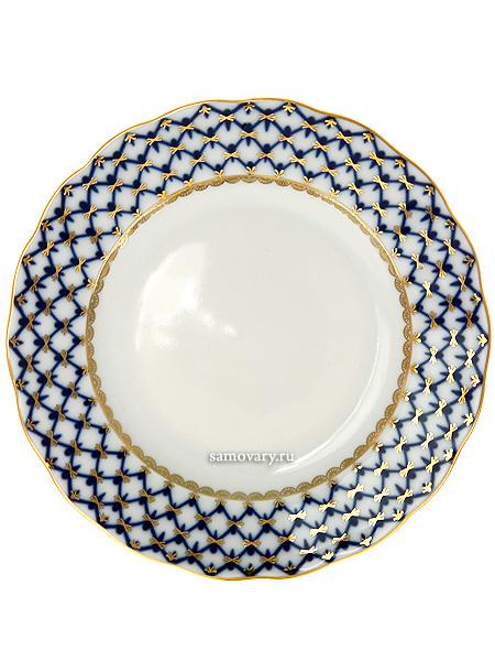 Тарелка гладкая мелкая 200, форма Тюльпан, рисунок Кобальтовая сетка, Императорский фарфоровый заводПлоская фарфоровая тарелка.&#13;<br>Диаметр - 20 см.<br>