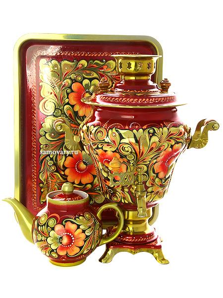 Набор самовар электрический 3 литра с художественной росписью Золотая кудрина, арт. 121209Самовары электрические<br>Комплект из трех предметов:латунный самовар, металлический поднос и заварочный чайник.<br>