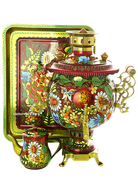 Комбинированный самовар 4,5 литра шар с художественной росписью Солнышко в наборе с подносом и чайником, арт. 311109Набор из самовара,подноса и заварочного чайника.<br>Труба для отвода дыма в комплекте.<br>