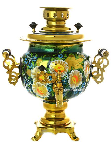 Электрический самовар 3 литра с художественной росписью Ромашки, арт. 155661Самовары электрические<br>Латунный самовар с термостойкой росписью.<br>