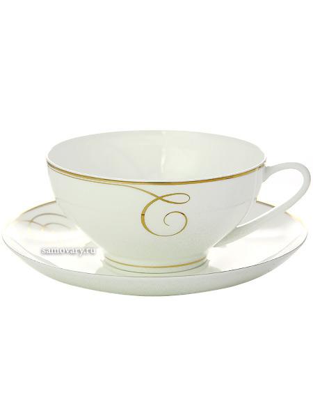 Сервиз чайный форма Купольная, рисунок Золотые завитки 6/14, Императорский фарфоровый заводСервиз чайный из 14 предметов: 6 чайных пар, чайник заварочный и сахарница.<br>