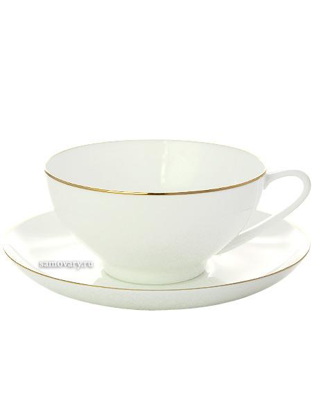 Сервиз чайный форма Купольная, рисунок Золотая лента 6/14, Императорский фарфоровый заводСервиз чайный из 14 предметов: 6 чайных пар, чайник заварочный и сахарница.<br>