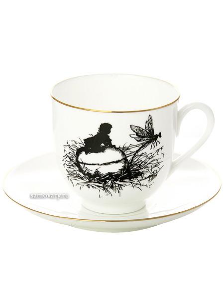 Кофейная чашка с блюдцем форма Ландыш, рисунок Стрекоза, серия Силуэты, Императорский фарфоровый заводФарфоровая кофейная пара.&#13;<br>Серия Силуэты.&#13;<br>Объем чашки - 180 мл.<br>