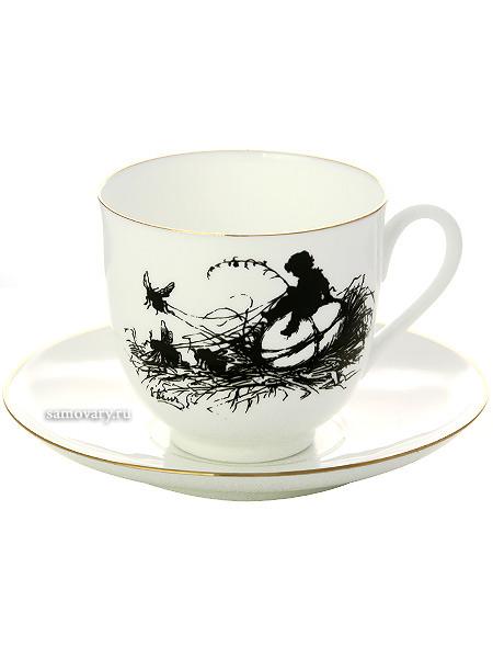 Кофейная чашка с блюдцем форма Ландыш, рисунок Мальчик, серия Силуэты, Императорский фарфоровый заводФарфоровая кофейная пара.&#13;<br>Серия Силуэты.&#13;<br>Объем чашки - 180 мл.<br>