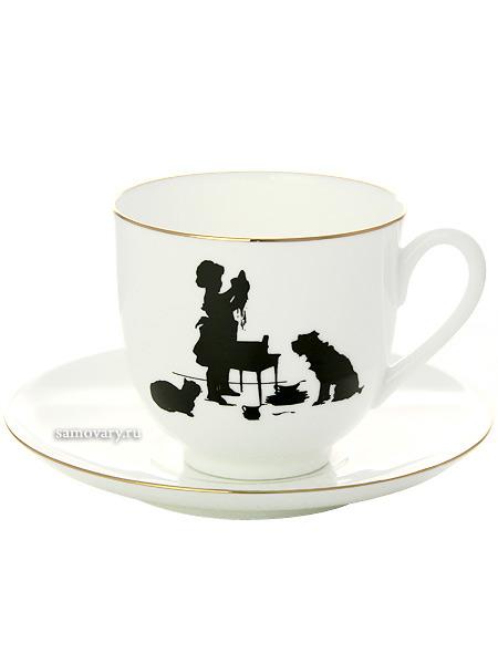 Кофейная чашка с блюдцем форма Ландыш, рисунок Помощница, серия Силуэты, Императорский фарфоровый заводФарфоровая кофейная пара.&#13;<br>Серия Силуэты.&#13;<br>Объем чашки - 180 мл.<br>