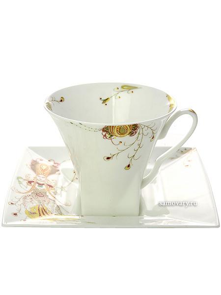Чашка с блюдцем чайная форма Петрополь, рисунок Жар-Птица, Императорский фарфоровый заводФарфоровая чайная пара.&#13;<br>Объем - 220 мл.<br>