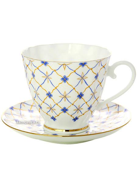 """Чашка с блюдцем чайная форма """"Гвоздика"""", рисунок """"Ретро"""", Императорский фарфоровый завод Тульские самовары"""