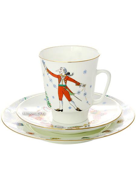Комплект кофейный: чашка и два блюдца форма Майская, рисунок Балет Щелкунчик, Императорский фарфоровый заводПодарочный фарфоровый комплект - чашка и два блюдца.&#13;<br>Объем чашки - 165 мл.<br>