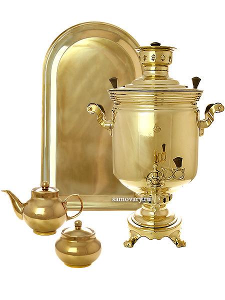 Набор с угольным самоваром 7 литров желтый цилиндр, арт. 220725уПодарочный комплект: угольный самовар, металлический поднос, чайник и сахарница с напылением под золото.&#13;<br>Труба для отвода дыма в комплекте.<br>