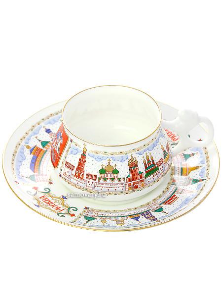 Чашка с блюдцем чайная форма Билибина, рисунок Москва златоглавая, Императорский фарфоровый заводФарфоровая чайная пара.&#13;<br>Объем - 180 мл.<br>