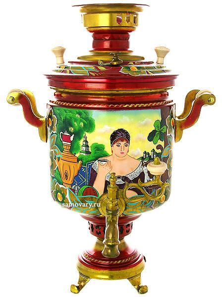 Комбинированный самовар 7 литров с художественной росписью Купчиха, арт. 310502Самовар комбинированный&#13;<br>7 литров цилиндр с красочной художественной росписью.&#13;<br>Труба для отвода дыма в комплекте.<br>