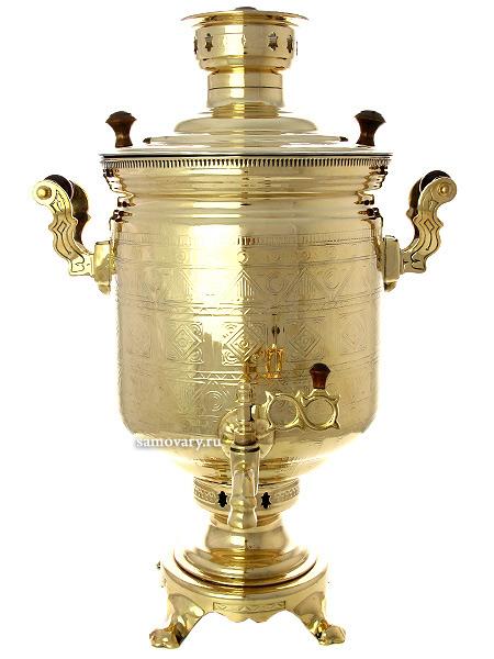Угольный самовар (на дровах) 7 литров желтый