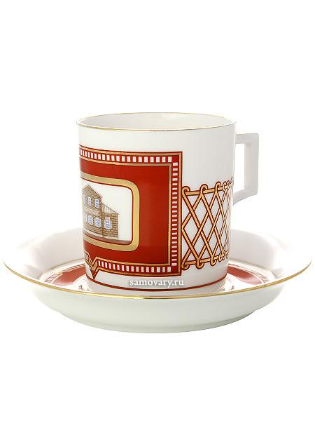 Чашка с блюдцем чайная форма Гербовая, рисунок Дом на ул. Танеевых, Императорский фарфоровый заводФарфоровая чайная пара.&#13;<br>Объем - 220 мл.<br>