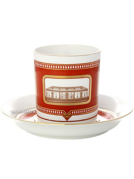 Чашка с блюдцем чайная форма Гербовая, рисунок Провиантские склады, Императорский фарфоровый заводФарфоровая чайная пара.&#13;<br>Объем - 220 мл.<br>