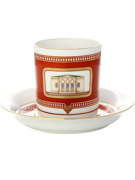 Чашка с блюдцем чайная форма Гербовая, рисунок Дом Щепочкиной, Императорский фарфоровый заводФарфоровая чайная пара.<br>Объем  - 220 мл.<br>