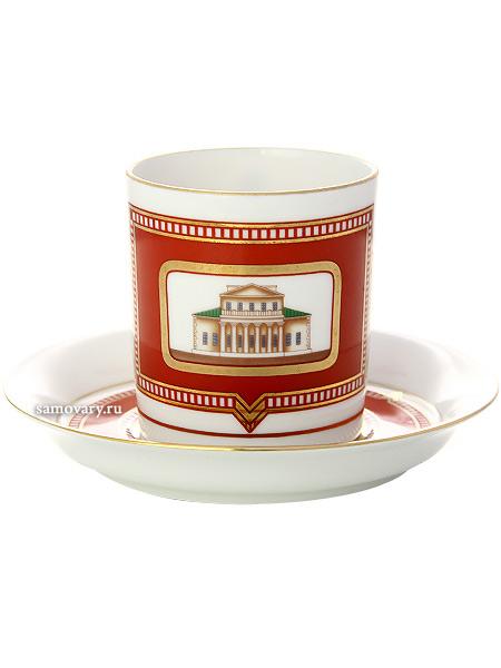 Чашка с блюдцем чайная форма Гербовая, рисунок Дом Поливанова, Императорский фарфоровый заводФарфоровая чайная пара.&#13;<br>Объем - 220 мл.<br>