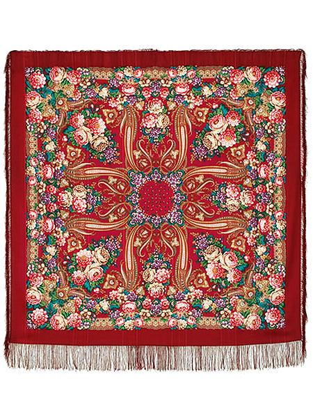Шерстяной Павлопосадский платок Именинница, 146*146 см, арт. 1446-5Платок шерстяной с просновками и шелковой бахромой.<br>Размер 146*146.<br>
