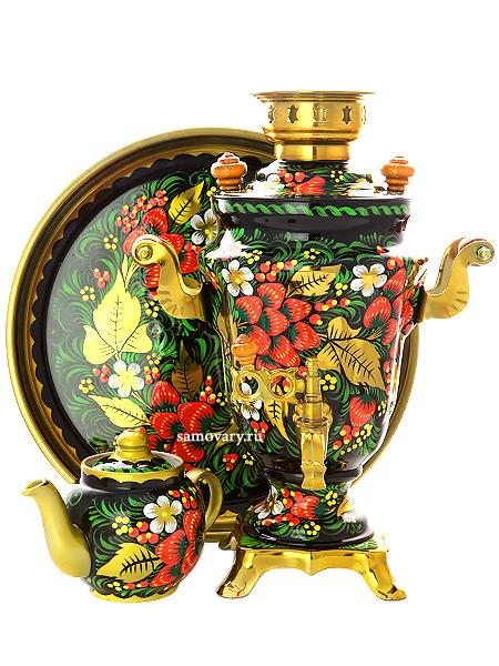 Набор самовар электрический 1,5 литра с художественной росписью Хохлома классическая, арт. 110378Комплект из трех предметов:латунный самовар, металлический поднос и заварочный чайник.<br>