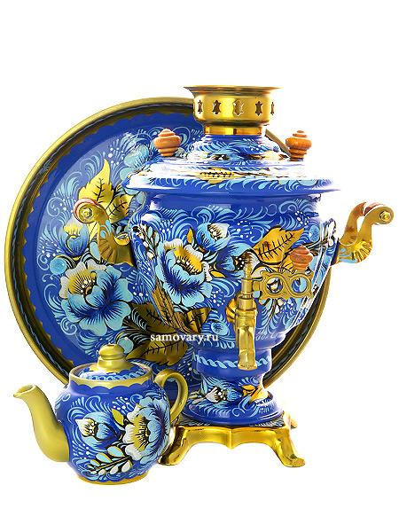 Набор самовар электрический 2 литра с художественной росписью Кружево, арт. 140212мСамовары электрические<br>Комплект из трех предметов:латунный самовар, металлический поднос и заварочный чайник.<br>