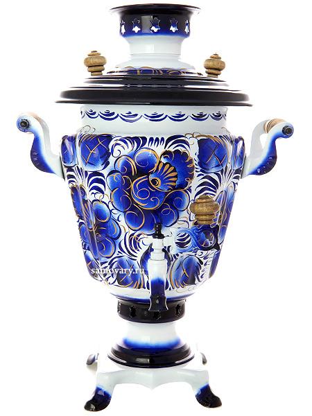 Самовар электрический 3 литра с художественной росписью Гжель, конус, арт. 140407Латунный самовар с термостойкой росписью.<br>