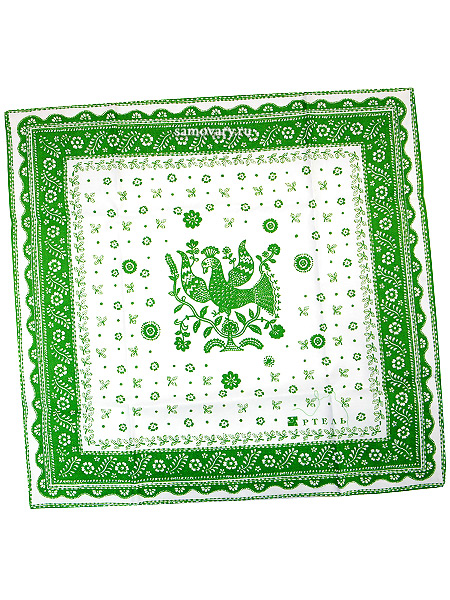 Салфетка Птица, светло-зеленая без кружева, 50х50, АртельРазмер салфетки - 50*50 см.&#13;<br>Хлопколен.<br>