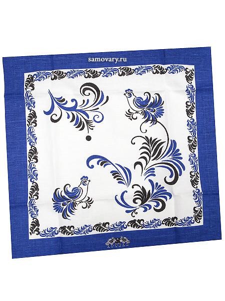Салфетка Цветы, синяя без кружева, 50х50, АртельРазмер салфетки - 50*50 см.&#13;<br>Хлопколен.<br>