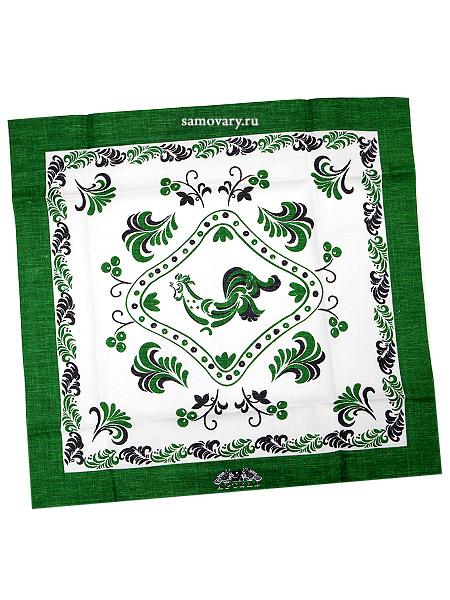 Салфетка Петух, зеленая без кружева, 50х50, АртельРазмер салфетки - 50*50 см.<br>Хлопколен.<br>