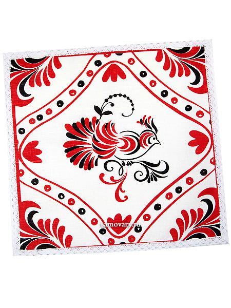 Салфетка Птица, красная с кружевом, 30х30, АртельРазмер салфетки - 30*30 см.&#13;<br>Хлопколен.<br>