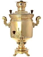 Угольный самовар 5 литров латунный желтый цилиндр