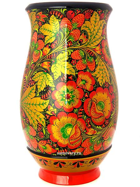 Ваза хохлома Черный фон.Цветы, 310х180Деревянная ваза с хохломской росписью.&#13;<br>Размер - 310х180 мм.<br>