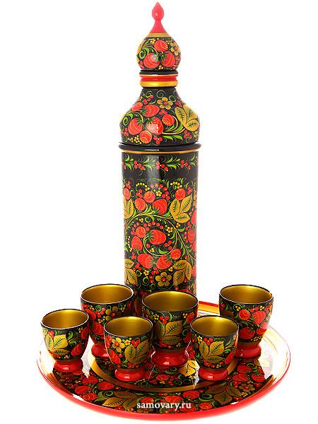 Набор для вина хохлома Ягоды на черном фоне 8 предметов арт. 63400000008Деревянный набор для вина с хохломской росписью.&#13;<br>Состоит из 8 предметов.<br>