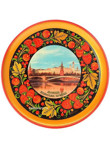 Тарелка-панно хохлома Москва.Панорама Кремля 150Х15, арт. 1Деревянная тарелка-панно с хохломской росписью.<br>Размер - 150х15 мм.<br>