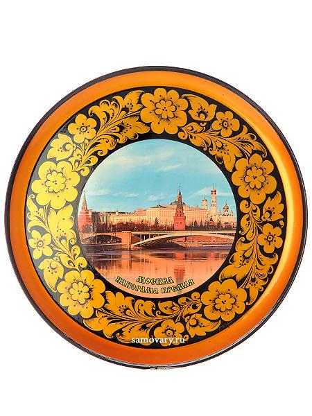 Тарелка-панно хохлома Москва.Панорама Кремля 300Х21Деревянная тарелка-панно с хохломской росписью.<br>Размер - 300х21 мм.<br>