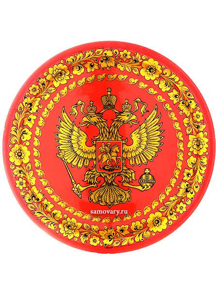 Тарелка-панно хохлома Герб РФ 500Х20Деревянная тарелка-панно с хохломской росписью.&#13;<br>Размер - 500х20 мм.<br>
