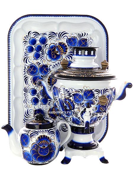 Набор самовар электрический 2 литра с художественной росписью Гжель, арт. 130315Самовары электрические<br>Комплект из трех предметов:латунный самовар, металлический поднос и заварочный чайник.<br>