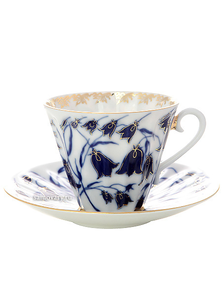Чашка с блюдцем чайная форма Лучистая, рисунок Колокольчики, Императорский фарфоровый заводФарфоровая чайная пара.<br>Объем - 235 мл.<br>