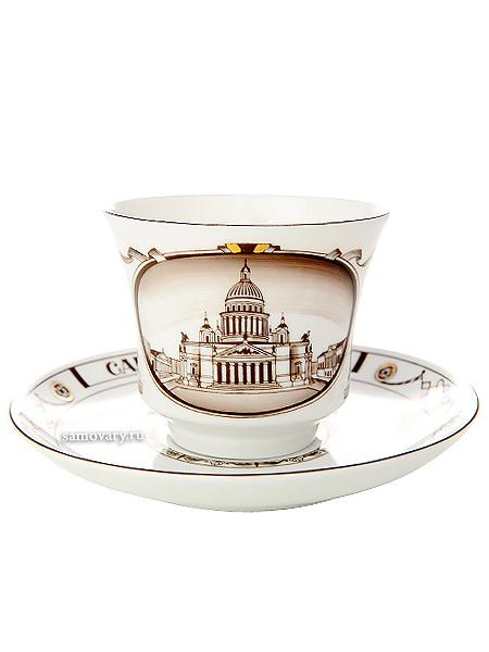 Чашка с блюдцем чайная форма Банкетная, рисунок Исаакиевский собор, Императорский фарфоровый заводФарфоровая чайная пара.<br>Объем - 240 мл.<br>