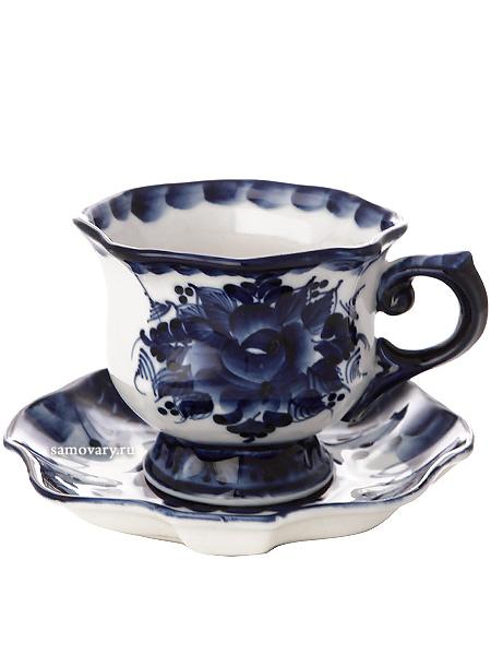 Чайная пара с художественной росписью Гжель ЮбилейнаяЧайная пара керамическая с ручной художественной росписью.&#13;<br>Объем - 165 мл.<br>