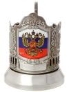 Никелированный подстаканник с цветным нанесением Флаг РФ КольчугиноЛатунный подстаканник с никелированным покрытием.<br>