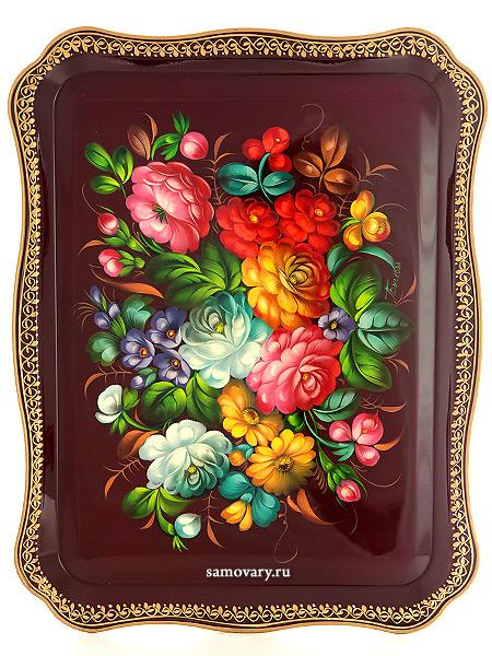 Поднос Жостово с художественной росписью Букет на красном фоне, прямоугольный, арт. 9112Поднос с ручной росписью.&#13;<br>Размер - 46*36 см.<br>