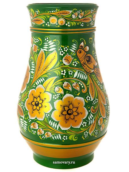 Ваза Кудрина на зеленом фоне, 290х180 арт. 04160290180Деревянная ваза с хохломской росписью.&#13;<br>Размер - 290х180 мм.<br>