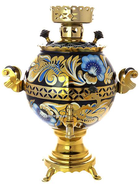 Электрический самовар 3 литра с художественной росписью Кудрина на синем фоне, шар,  арт. 130210Латунный самовар с термостойкой росписью.<br>