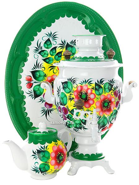 Набор самовар электрический 3 литра с художественной росписью Жостово на белом фоне, арт. 121414Самовары электрические<br>Комплект из трех предметов:латунный самовар, металлический поднос и заварочный чайник.<br>