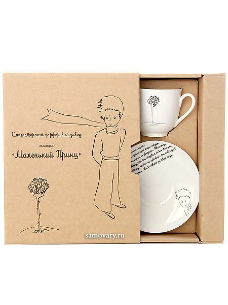 """Подарочный набор: кофейная чашка с блюдцем, форма """"Ландыш"""", рисунок """"Роза"""", Императорский фарфоровый завод Тульские самовары"""