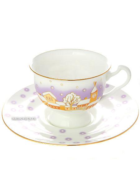 Чашка с блюдцем чайная форма Айседора, рисунок Снегопад, Императорский фарфоровый заводФарфоровая чайная пара.&#13;<br>Объем - 240 мл.<br>