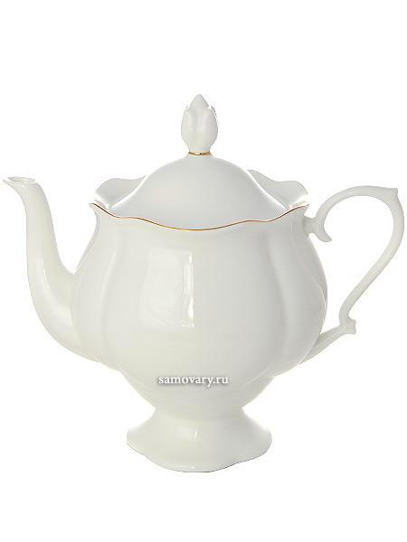Чайник заварочный форма Наташа, рисунок Золотая лента, Императорский фарфоровый заводФарфоровый чайник.<br>Объем - 900 мл.<br>