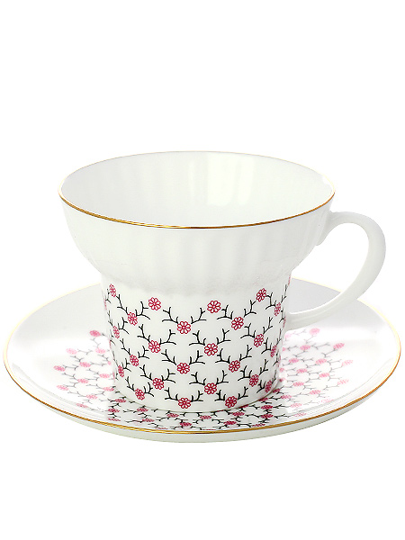 Сервиз чайный форма Волна, рисунок Розовая сетка 6/20, Императорский фарфоровый заводаСервиз чайный из 20 предметов: 6 чайных пар, 6 десертных тарелок, чайник заварочный и сахарница.<br>