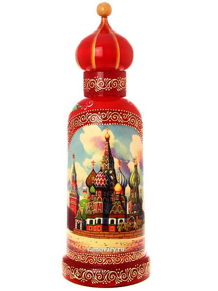 Матрешка-штоф Москва Златоглавая на красном фоне, арт. 025Матрешка-штоф для бутылки объемом 0,5 л.&#13;<br>Высота - 38 см.<br>