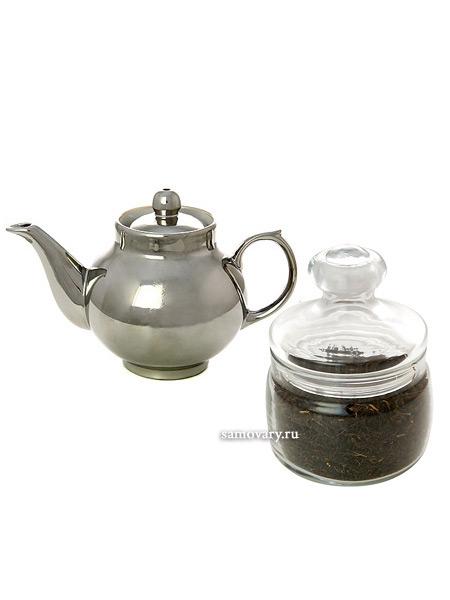 Подарочный набор: чайник заварочный керамический под серебро с копорским чаемВыгодный комплект из заварочного чайника и целебный копорского чая.<br>Экономия при покупке набора 150 рублей!<br>