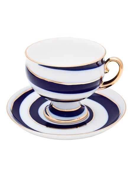 Чашка с блюдцем чайная форма Классическая, рисунок Серпантин, Императорский фарфоровый заводФарфоровая чайная пара.&#13;<br>Объем - 360 мл.<br>